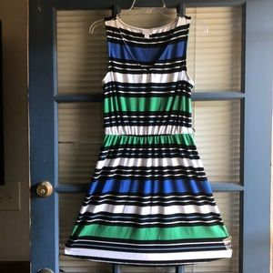 Green and blue striped dress